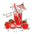 Cartoon cocktail with strawberry vector image