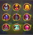 cartoon fantasy mushrooms in frames vector image vector image