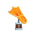 cartoon golden trophy in form of fin on brown base vector image vector image