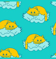 cat sleeps on cloud pattern soft fluffy pet and vector image