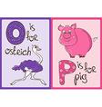 children alphabet with funny animals ostrich vector image