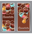 Chocolate vertical banners with various tasty vector image