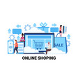 computer application online shopping concept vector image vector image