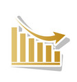 declining graph sign golden gradient icon vector image vector image