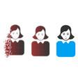 disintegrating pixel halftone bureaucrat woman vector image vector image