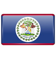 Flags Belize in the form of a magnet on vector image vector image