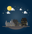 flat design cityscape at night vector image