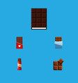 flat icon bitter set of bitter cocoa dessert and vector image vector image