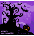 halloween tree card lilac vector image vector image