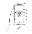 hand holding smartphone connection wifi vector image vector image