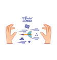 hands with dart and social media set icons vector image vector image