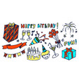 happy birthday and fun set vector image vector image