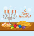 happy hanukkah card template with candles and vector image vector image