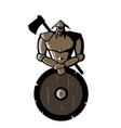 image bronze viking with shield and ax vector image vector image