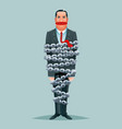 imprisoned chained businessman constrained chain vector image