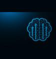 increased brain activity low poly design brain vector image vector image