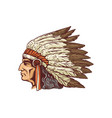 indian chief portrait in feather headdress sketch vector image vector image