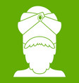 indian man icon green vector image vector image
