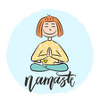 kid yoga background with lettering namaste vector image vector image