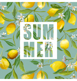 Lemon Flowers and Leaves Background Exotic Graphic vector image vector image