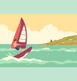 man windsurfing vector image vector image