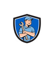 Mechanic Arms Crossed Spanner Crest Cartoon vector image vector image
