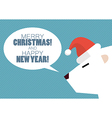 Merry christmas and Happy new year with white bear vector image