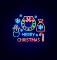 merry christmas neon label vector image