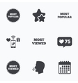 Most popular star icon Most viewed symbol vector image vector image