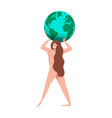 mother nature woman with green planet earth vector image vector image