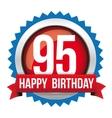 Ninety five years happy birthday badge ribbon vector image vector image