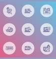 optimization icons line style set with seo tag vector image