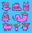 pink monsters emoticons set vector image vector image