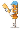 playing baseball screwdriver character cartoon vector image