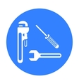 Plumbing tooles icon in black style isolated on vector image