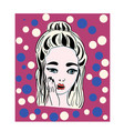 pop art surprised girlcomic woman vector image