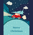 red car with a christmas tree vector image vector image