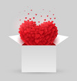 red heart in an open box valentine day vector image vector image