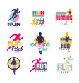 running club logo templates set emblems for sport vector image vector image