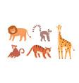 set cute zoo or wild animals lion sloth vector image vector image
