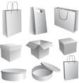 Set of paper bags and boxes for branding vector image vector image