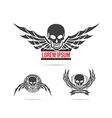 Skeleton skull with wing logo emblem element 001 vector image vector image
