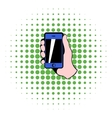 Smartphone in hand icon comics style vector image vector image