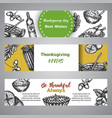 thanksgiving day banners collection hand drawn vector image vector image