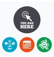 You are here sign icon Info speech bubble vector image vector image