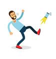young furious man shouting and kicking his phone vector image vector image