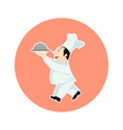 chef with food serving tray cartoon vector image