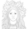 adult coloring bookpage a cute girl with a crown vector image vector image