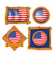 american flag on different frames vector image vector image