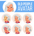 asian old woman avatar set face emotions vector image vector image